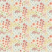 Riley Blake Woodland Spring - 4391 - Small Floral Print Coral on Cream - C4991 Cream - Cotton Fabric